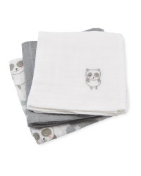 Panda Muslin Cloths 3-Pack