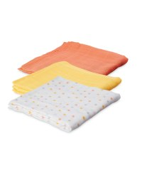 Yellow Stars Muslin Cloths 3 Pack