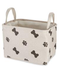 Grey/Cream Pet Toy Storage Tub