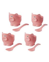 Pig Egg Cups & Spoons Bundle