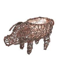 Pig Rattan Effect Animal Planter - Chestnut