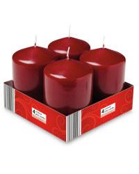 Pillar Candles 4 Pack - Bordeaux