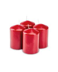 Pillar Candles Pack of 4 - Burgundy