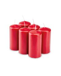 Pillar Candles Pack of 6 - Burgundy