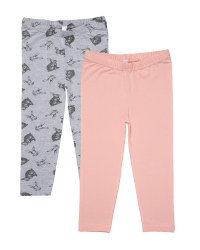 Pink & Grey Rabbit Leggings