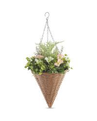 Artificial Pink & White Basket