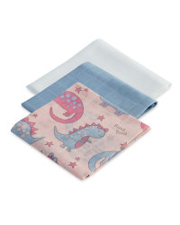 Pink Dino Muslin Cloths 3 Pack