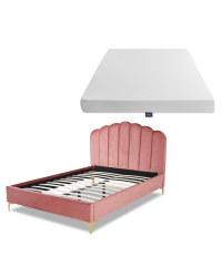 Pink King Scallop Bed & Mattress