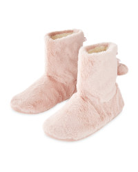 Pink Ladies' Plush Slipper Boots