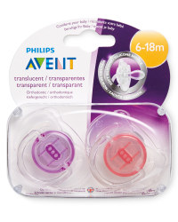 Purple/Coral 6-18m Soothers 2 Pack