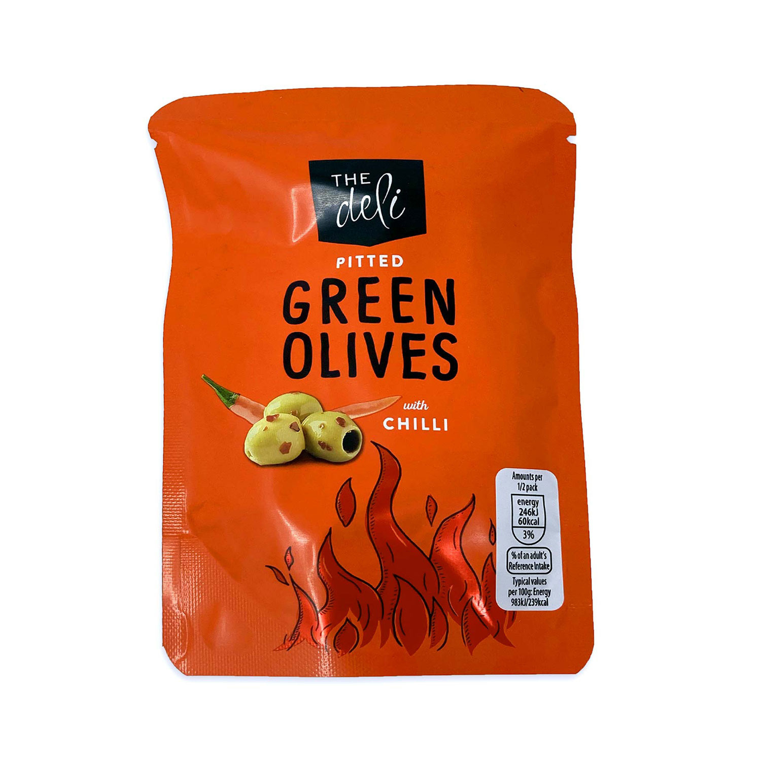 Pitted Green Olives With Chilli