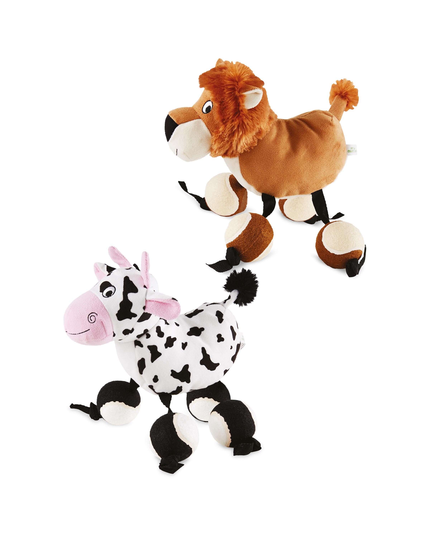 Set Of Dog Stuffed Animals, Cow Lion Ball Feet Dog Toy Set Aldi Uk