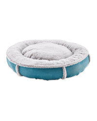 Plush Teal Donut Pet Bed