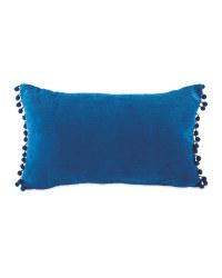 Kirkton House Pom Pom Cushion - Blue