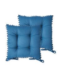 Belavi Pom Pom Seat Pads 2 Pack - Blue