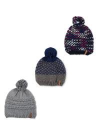 Pompom Fleece Lined Knitted Hat