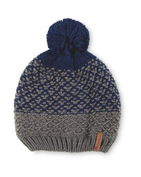 Pompom Fleece Lined Knitted Hat - Blue/Grey