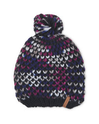 Pompom Fleece Lined Knitted Hat - Gradient