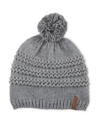 Pompom Fleece Lined Knitted Hat - Grey