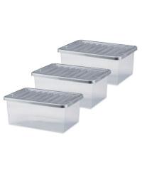 Premier 12L Storage Box 3 Pack - Silver