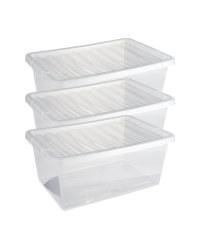Premier 12L Storage Boxes 3 Pack - Clear