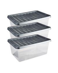 Premier 12L Storage Boxes 3 Pack - Silver