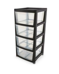 Premier 4 Drawer Storage Tower - Black