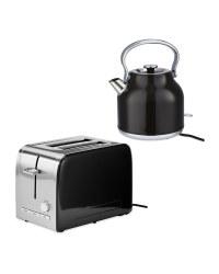 Premium Black Kettle & Toaster