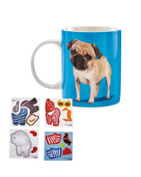 Pug Dress Up Sticker Mug