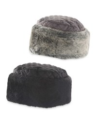 Quilted Hat With Faux Fur