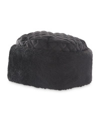 Quilted Hat With Faux Fur - Black
