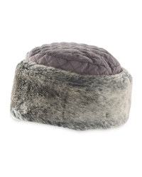 Quilted Hat With Faux Fur - Grey