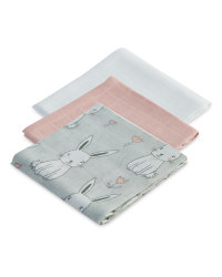 Rabbit Muslin Cloths 3 Pack