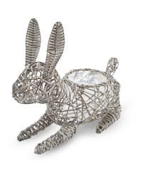 Rabbit Rattan Animal Planter - Slate