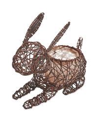 Rabbit Rattan Effect Animal Planter - Chestnut