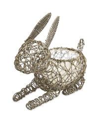Rabbit Rattan Effect Animal Planter - Slate