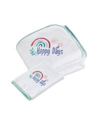 Rainbow Hooded Baby Towel & Mitt