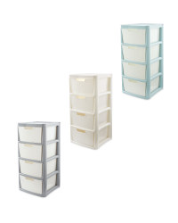 Rattan Effect 4-Drawer Tower