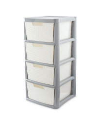 Rattan Effect 4-Drawer Tower - White & Grey