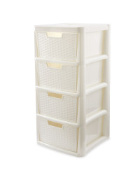 Rattan Effect 4-Drawer Tower - White