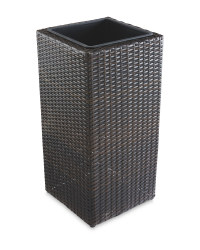 Rattan Effect Cubical Planter - Brown