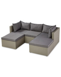 Rattan Effect Grey Corner Sofa Set