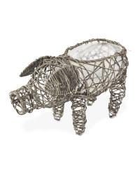 Rattan Effect Slate Pig Planter