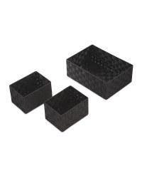 Rattan Effect Basket Set - Black