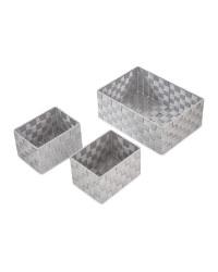 Rattan Effect Basket Set - Light Grey