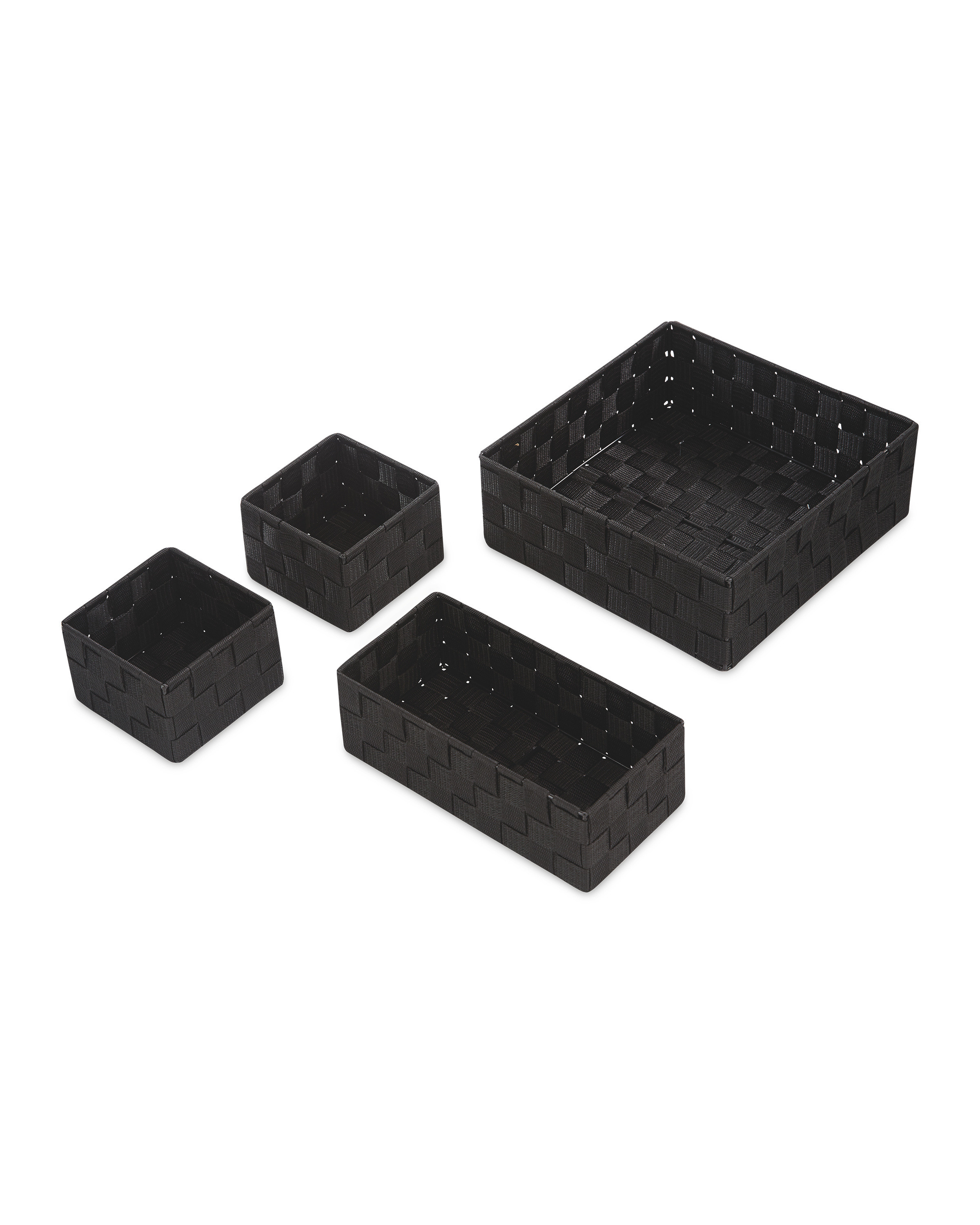 Rattan Effect Storage Boxes 4 Pack