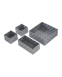 Rattan Effect Storage Boxes 4 Pack - Grey