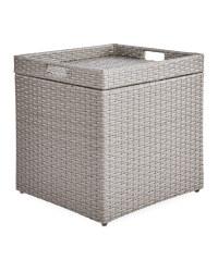 Rattan Style Storage Table Lht Grey