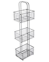 Rectangular Bathroom Storage Stand - Chrome