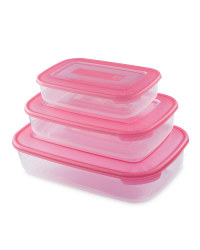 Rectangular Food Containers 3 - Pack - Magenta